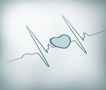 Teal ECG line with healthy heart graphic