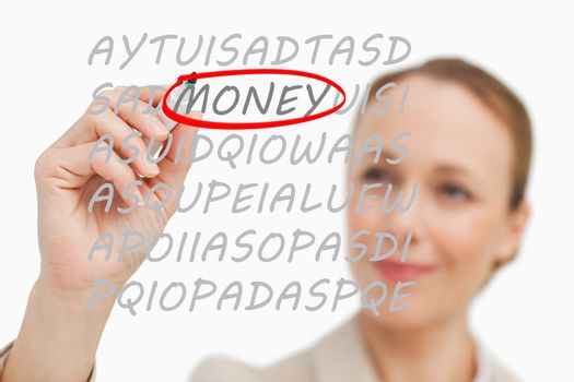 Businesswoman finding money