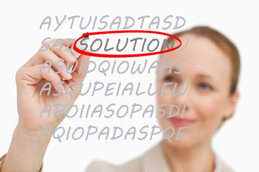 Businesswoman finding solution