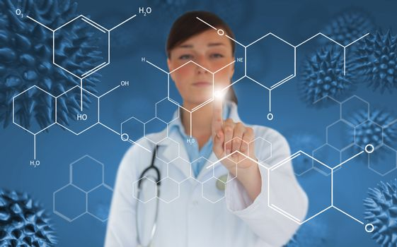 Doctor pressing touchscreen displaying holographic chemical formula