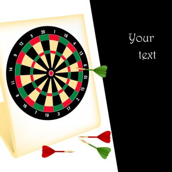 Vector illustration of a dartboard with darts