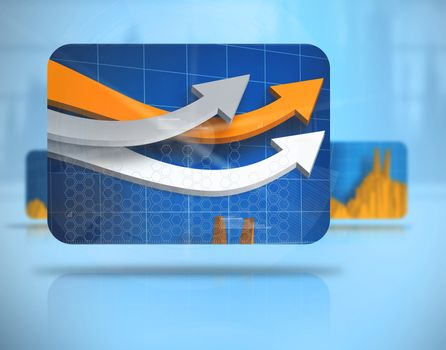 Digital background with screens including graphs