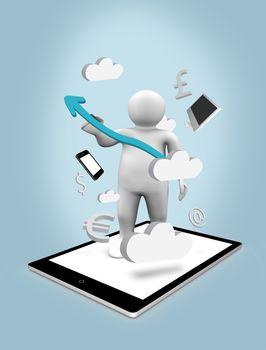 Digital figure on a tablet pc