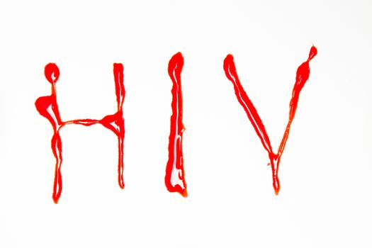 HIV spelled out in blood