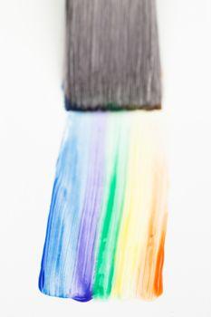 Paintbrush with a rainbow brush stroke