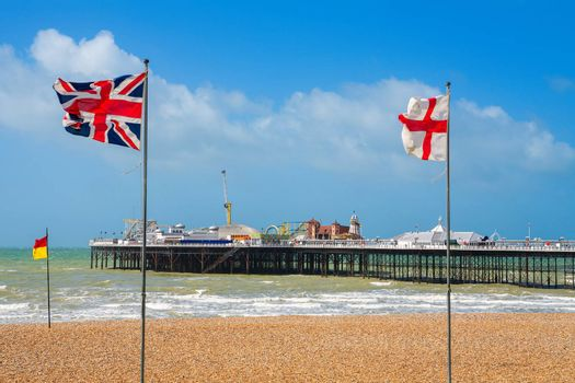 Seafront and pier at Brighton. East Sussex, England