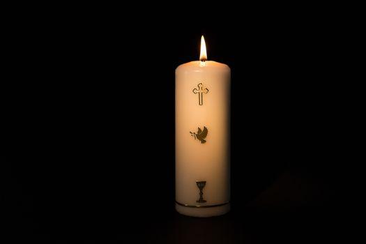 Holy candle burning