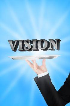 Waiter presenting vision