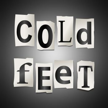 Illustration depicting a set of cut out printed letters formed to arrange the words cold feet.