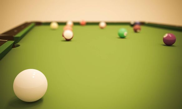 A view from the cue ball with several other balls on a pool table.