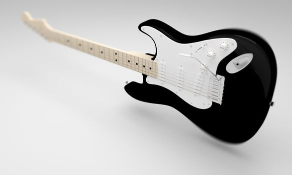 A CGI image of a black and white electric guitar on a white background.