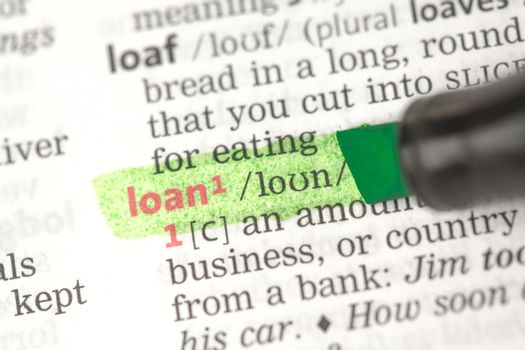 Loan definition highlighted in green