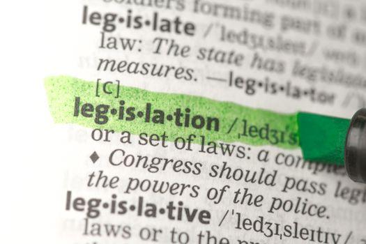 Legislation definition highlighted in green