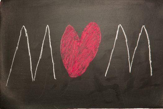 Mum drawn on blackboard with heart as the u