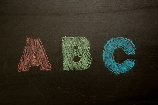 Abc drawn and coloured in on blackboard