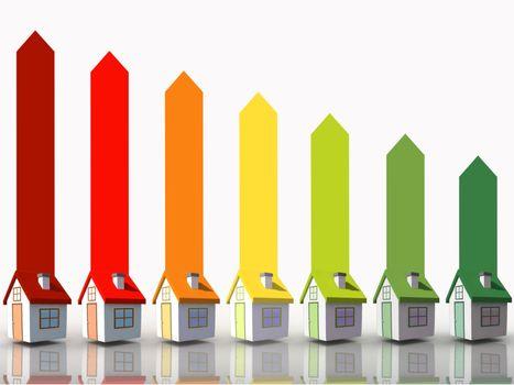 Seven 3d houses representing energy efficiency