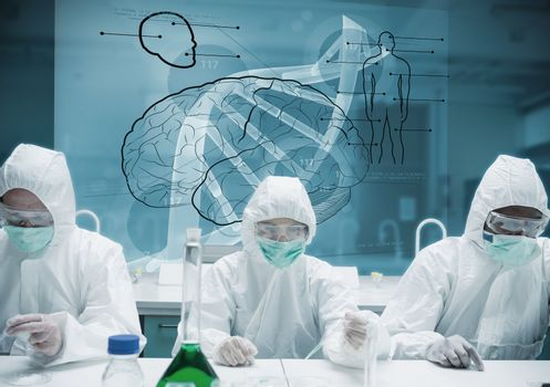 Chemists working in protective suit with futuristic interface showing DNA, brain and human body