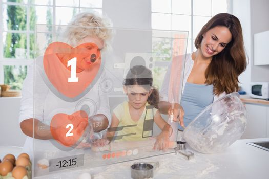 Granny mother and child making cookies with futuristic interface in the kitchen at home