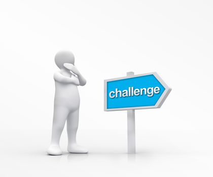 White figure choosing the road of challenge