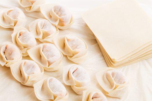 Homemade dumpling and raw material