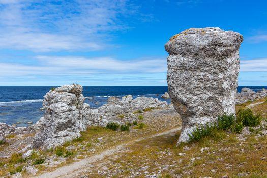 Rock formations on the coastline of Gotland, Sweden