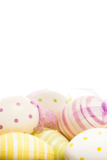 Many hand painted easter eggs