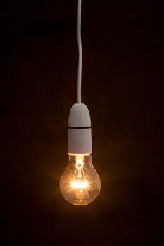 Bright light bulb turned on