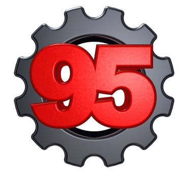number ninety five and gear wheel on white background - 3d illustration