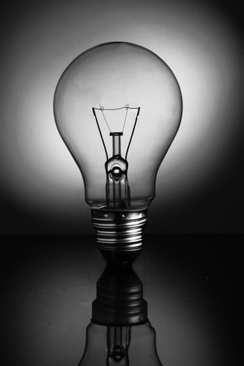 Big clear light bulb standing in black and white
