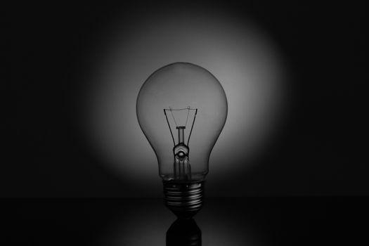 Big light bulb standing on reflective surface