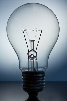 Close up of big light bulb standing