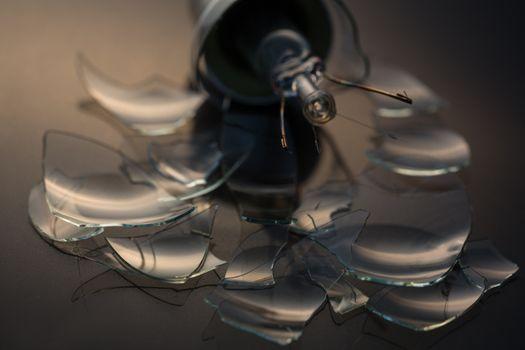 Close up of broken light bulb glass