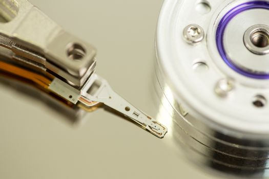 Extreme close up of a disk drive