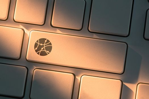 Keyboard with close up on connectivity button