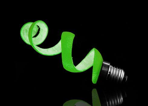 Green peel and light bulb