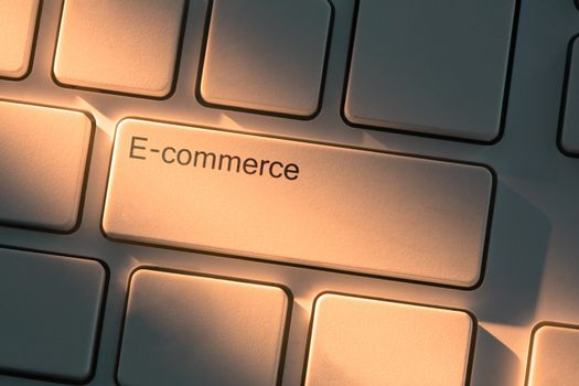 Keyboard with close up on e-commerce button