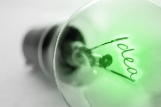 Filament spelling out idea in green