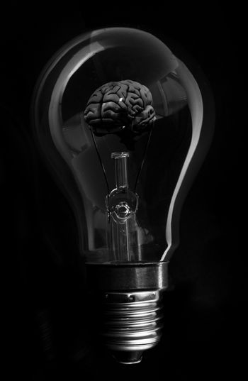 Black brain inside light bulb