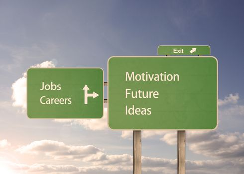 Jobs and motivation road sign