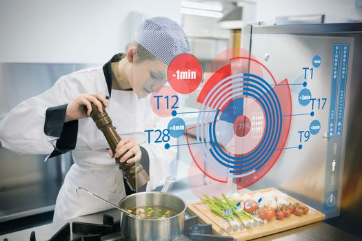 Chef seasoning soup and using futuristic interface