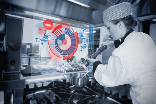 Chef seasoning the pot and using futuristic interface