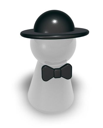 play figure with bow and hat - 3d illustration