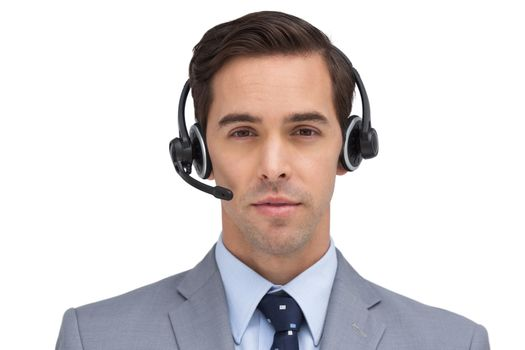 Serious assistant with headset