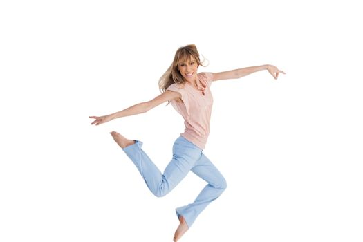 Graceful woman jumping