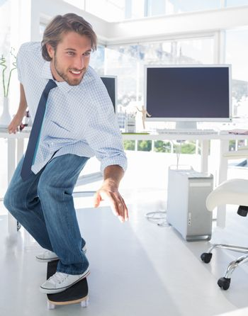 Employee skating through the office