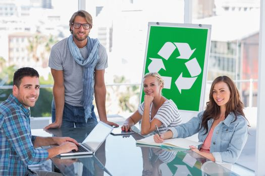 Team having meeting about recycling