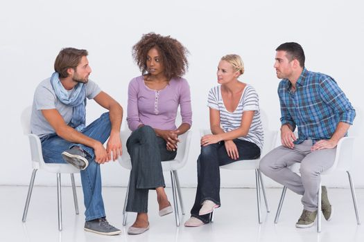 Stylish people sitting and chattingpeople  on white background