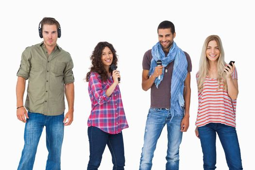 Friends using various types of technology on white background