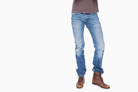 Man wearing jeans and boots