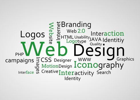 Group of green web design terms